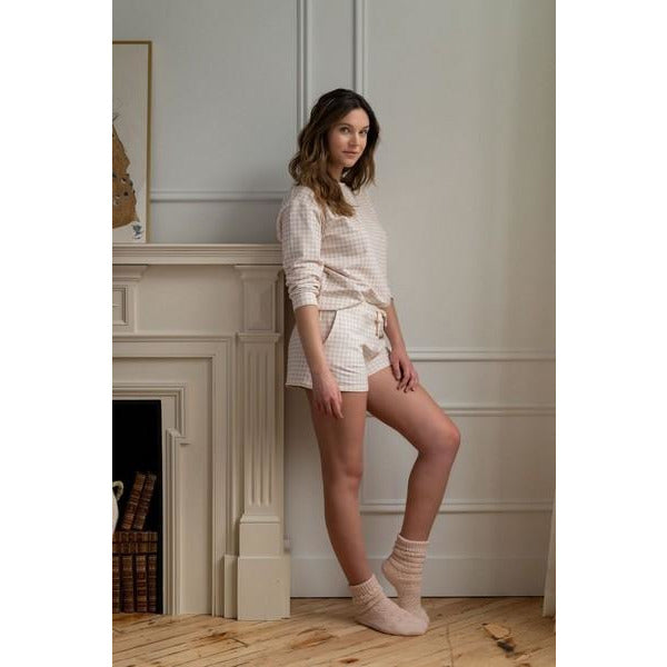 Peach Cream Pointelle Short Lounge Socks