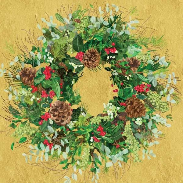 Yuletide Wreath Gold Lunch Napkins | boogie + birdie
