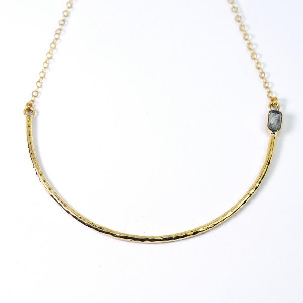 Brass Aviva Quartz Stone Curve Bar Necklace | Lissa Bowie | boogie + birdie