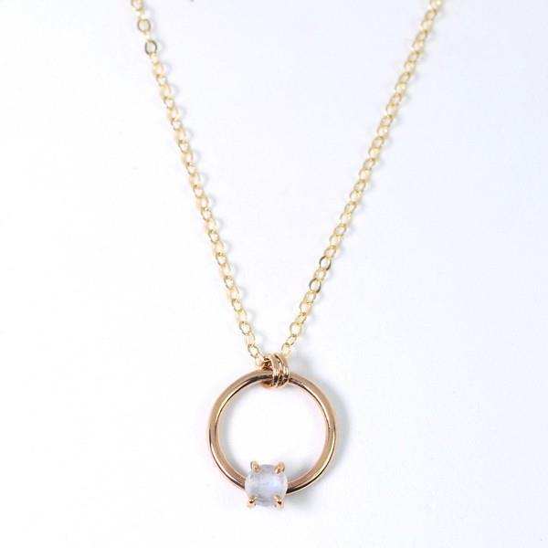 Moonstone Circle Necklace | Open Fire | boogie + birdie