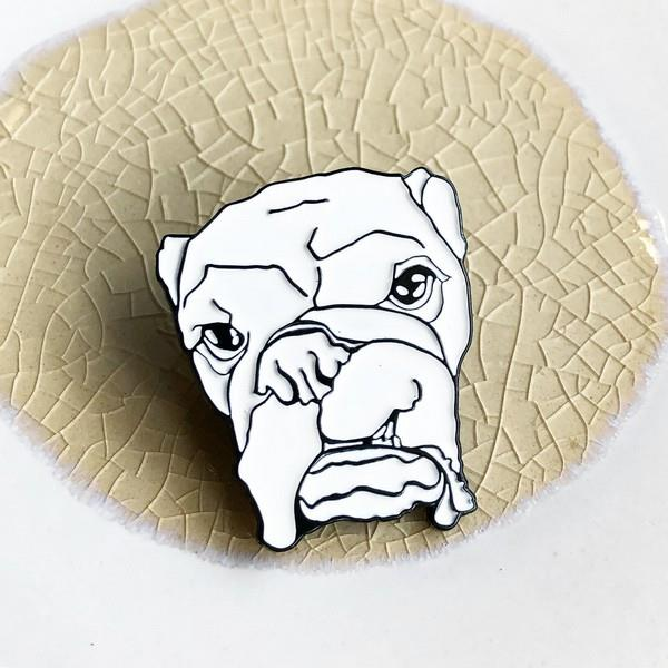 Grumpy English Bulldog Pin | boogie + birdie