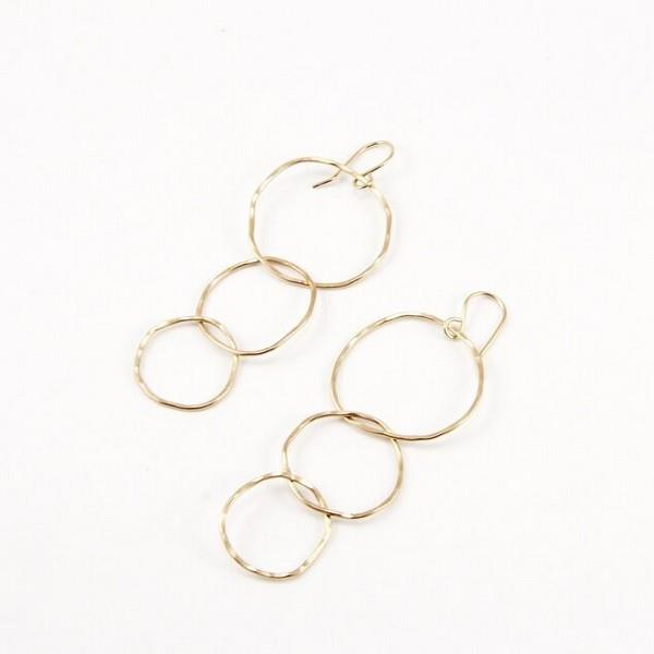 Gold Tri-Circle Drop Earrings | boogie + birdie