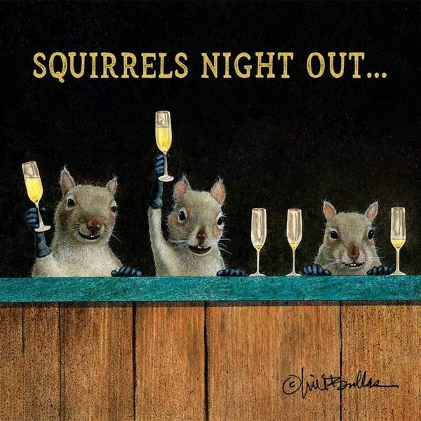 Squirrels Night Out Beverage Napkin