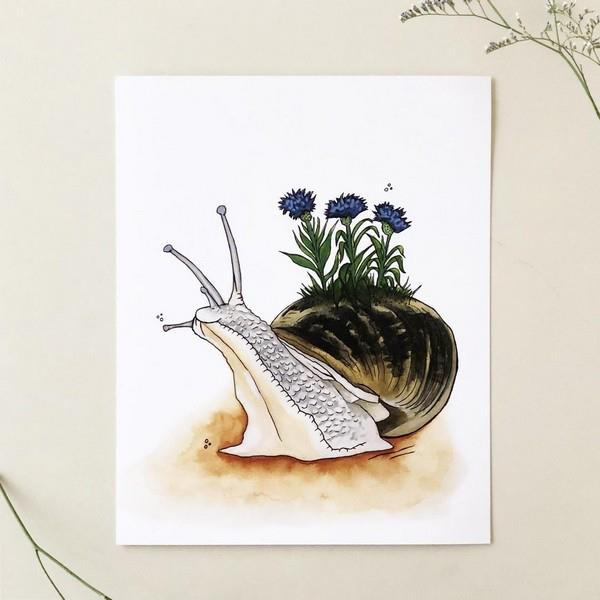 """Snail in Bloom"" Print 