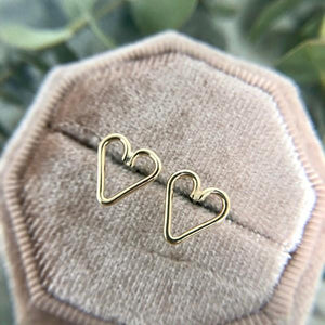 Gold Heart Stud Earrings | boogie + birdie