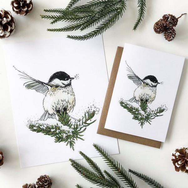 Winter Chickadee Card