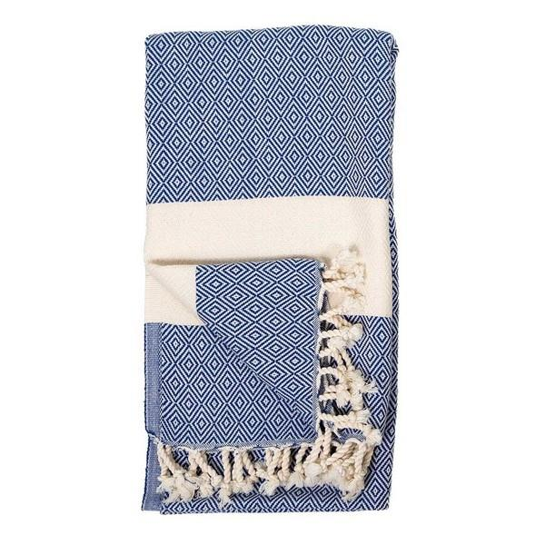 Navy Diamond Turkish Towel | boogie + birdie