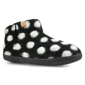 Black Dots Wool Slippers | boogie + birdie