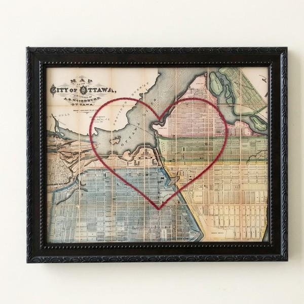 Ottawa Large Heart Map Brown Frame | boogie + birdie