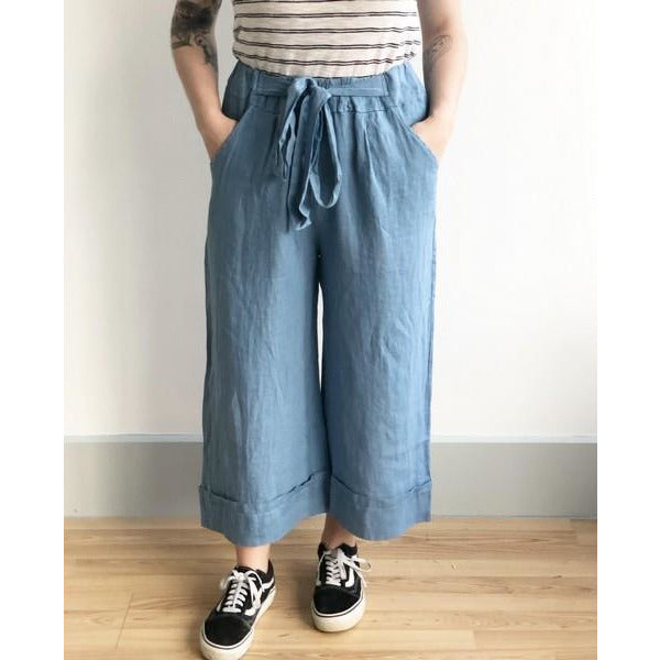 Denim Wide Linen Pants | boogie + birdie
