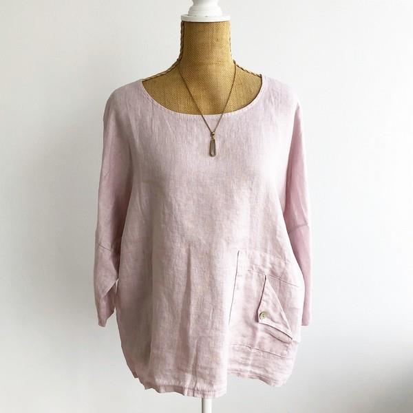 Pink Folded Pocket Linen Top | boogie + birdie