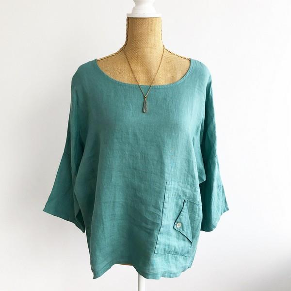 Agathe Folded Pocket Linen Top | boogie + birdie