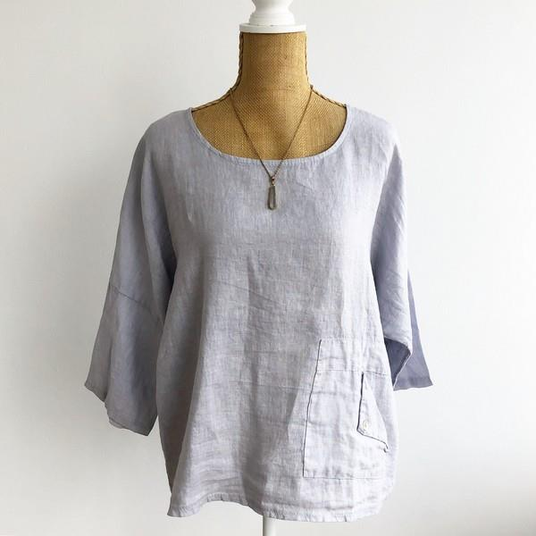 Grey Folded Pocket Linen Top | boogie + birdie