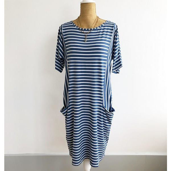 Denim Striped Pocket Dress | boogie + birdie
