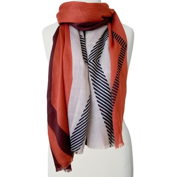Coral + Black Colour Block Scarf | boogie + birdie