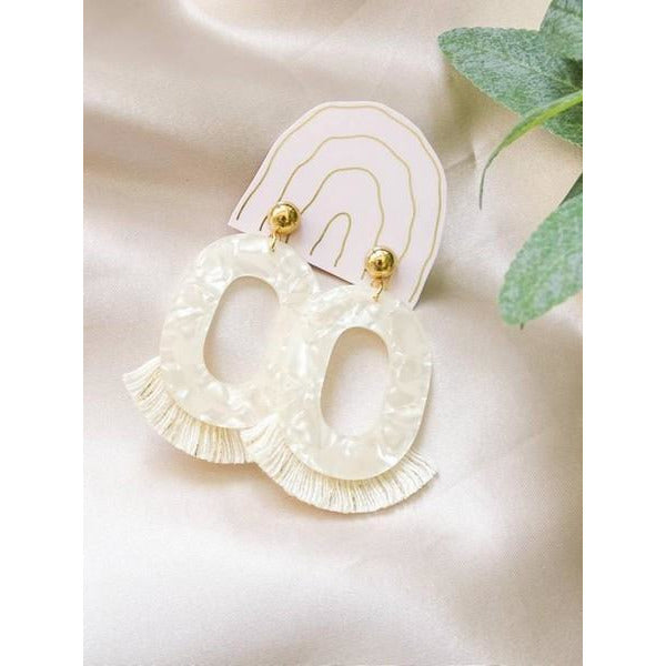 "Opal Cream Jackie ""O"" Fringe Earrings 