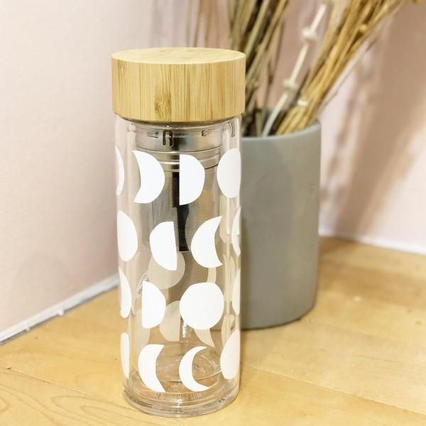 White Moons Glass & Bamboo Tea Infuser | boogie + birdie