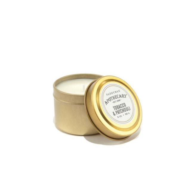 Tobacco & Patchouli Gold Travel Tin Candle | boogie + birdie