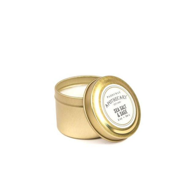 Sea Salt & Sage Gold Travel Tin Candle | boogie + birdie