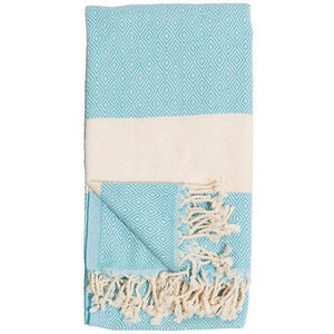 Diamond Aqua Turkish Towel | Folded | boogie + birdie