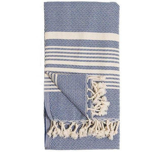 Hasir Navy Turkish Towel | Folded | boogie + birdie