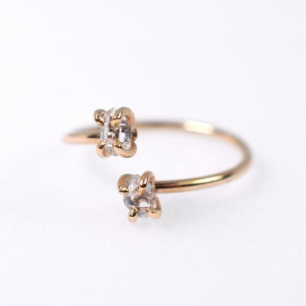 Herkimer Diamond Gold Twist Ring | Open Fire | boogie + birdie