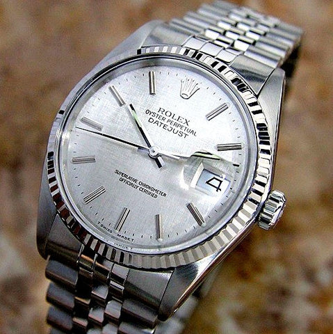 MENS ROLEX DATEJUST STAINLESS STEEL SS QUICKSET W/ ORIGINAL FACTORY ROLEX SILVER TAPESTRY DIAL