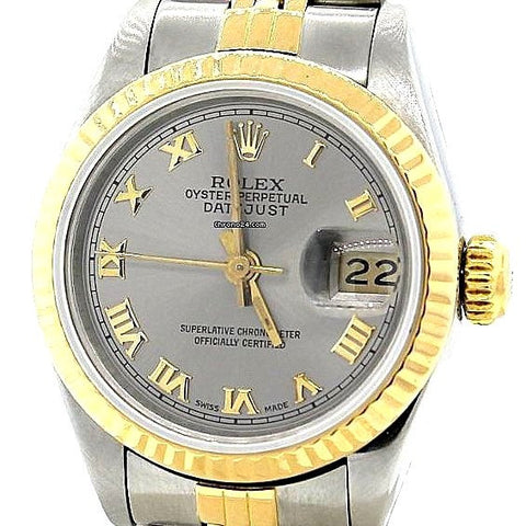 LADY ROLEX DATEJUST TWO TONE 18K/SS DATEJUST QUICKSET W/ FACTORY SILVER ROMAN DIAL
