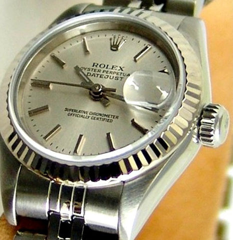 LADY ROLEX DATEJUST STAINLESS STEEL SS QUICKSET W/ FACTORY ROLEX SILVER DIAL & ORIGINAL BRACELET