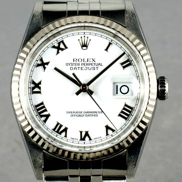 MENS ROLEX DATEJUST STAINLESS STEEL SS QUICKSET W/ ORIGINAL FACTORY ROLEX WHITE ROMAN DIAL