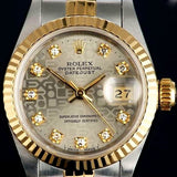 LADY ROLEX DATEJUST TWO TONE 18K/SS QUICKSET DATEJUST W/ UNIQUE ROLEX JUBILEE DIAMOND DIAL