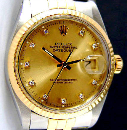 MENS ROLEX DATEJUST TWO TONE 18K /SS QUICKSET W/ FACTORY ROLEX GOLD DIAMOND DIAL