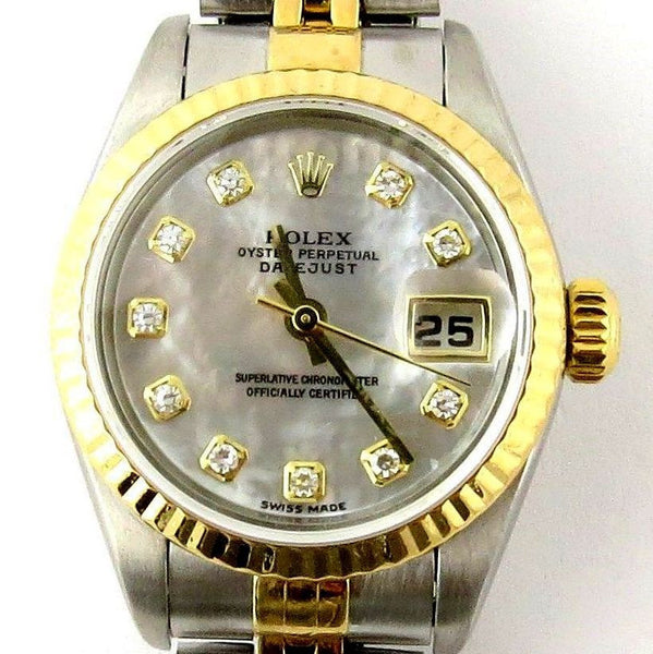 LADY ROLEX DATEJUST TWO TONE 18K/SS DATEJUST QUICKSET W/ FACTORY ROLEX DIAMOND MOTHER OF PEARL DIAL