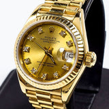 LADY ROLEX 18K GOLD QUICKSET PRESIDENT W/ FACTORY CHAMPAGNE DIAMOND DIAL