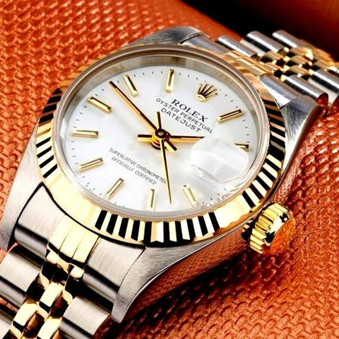 LADY ROLEX DATEJUST TWO TONE 18K/SS QUICKSET DATEJUST W/ FACTORY WHITE DIAL