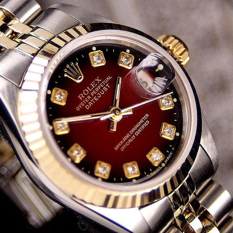 LADY ROLEX DATEJUST TWO TONE 18K/SS QUICKSET DATEJUST W/ FACTORY ROLEX RED VIGNETTE DIAMOND DIAL