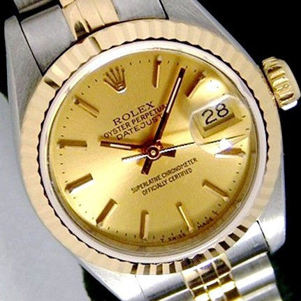 LADY ROLEX DATEJUST TWO TONE 18K/SS QUICKSET DATEJUST W/ FACTORY GOLD CHAMPAGNE DIAL