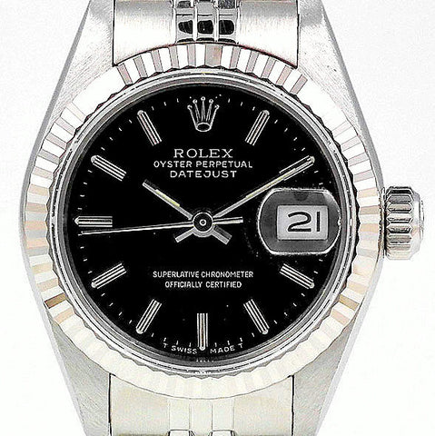 LADY ROLEX DATEJUST STAINLESS STEEL SS QUICKSET W/ FACTORY ROLEX BLACK DIAL & ORIG. BRACELET