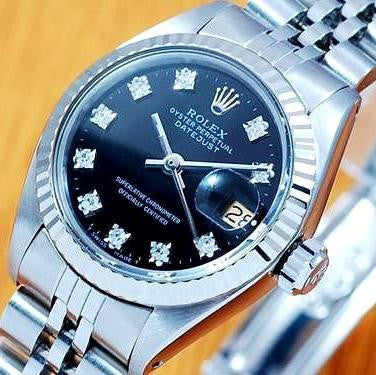 LADY ROLEX DATEJUST STAINLESS STEEL SS QUICKSET W/ FACTORY ROLEX BLACK DIAMOND DIAL