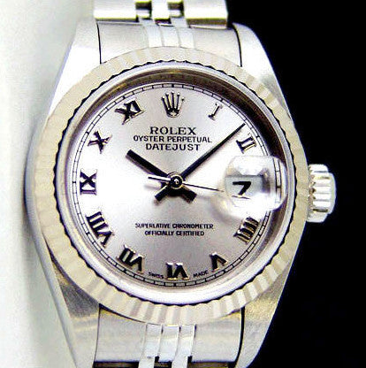 LADY ROLEX DATEJUST STAINLESS STEEL SS QUICKSET W/ FACTORY SILVER ROMAN DIAL, ORIGINAL BRACELET