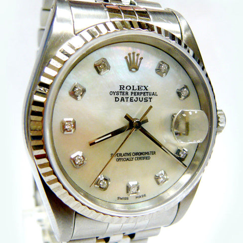 MENS ROLEX DATEJUST STAINLESS STEEL SS QUICKSET W/ ORIGINAL FACTORY ROLEX MOTHER OF PEARL DIAMOND DIAL