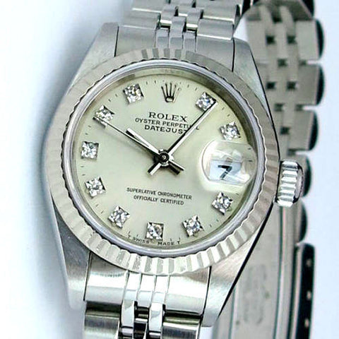 LADY ROLEX DATEJUST STAINLESS STEEL SS QUICKSET W/ FACTORY ROLEX SILVER DIAMOND DIAL
