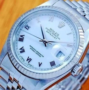 MENS ROLEX DATEJUST STAINLESS STEEL SS QUICKSET W/ ORIGINAL WHITE ROMAN DIAL