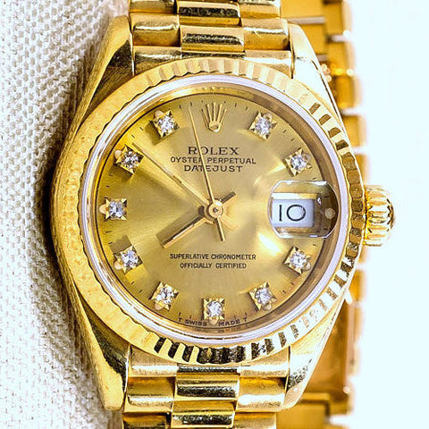 LADY ROLEX 18K GOLD PRESIDENT QUICKSET W/ FACTORY CHAMPAGNE DIAMOND DIAL