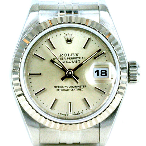 LADY ROLEX DATEJUST STAINLESS STEEL SS QUICKSET W/ FACTORY ROLEX SILVER DIAL & BRACELET