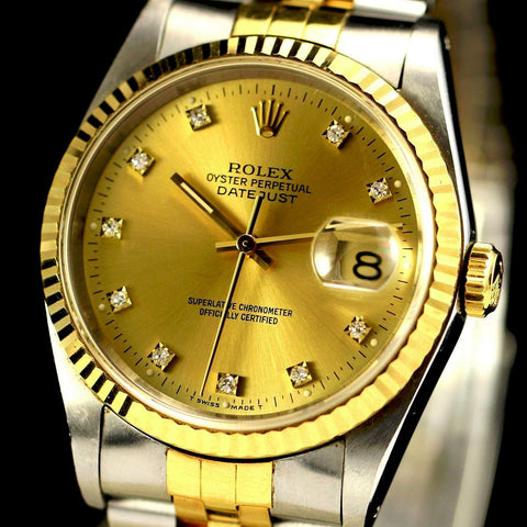 MENS ROLEX DATEJUST TWO TONE 18K/SS QUICKSET W/ FACTORY GOLD (CHAMPAGNE) DIAMOND DIAL