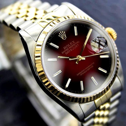 MENS ROLEX DATEJUST TWO TONE 18K/SS QUICKSET W/ FACTORY RED VIGNETTE DIAL