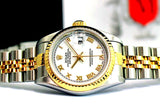 LADY ROLEX DATEJUST TWO TONE 18K/SS DATEJUST QUICKSET W/ FACTORY WHITE ROMAN DIAL