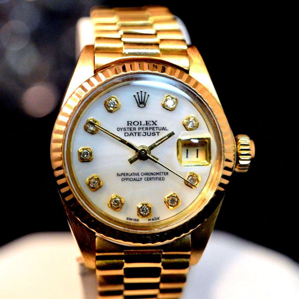 LADY ROLEX 18K GOLD PRESIDENT QUICKSET W/ FACTORY MOTHER OF PEARL DIAMOND DIAL