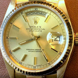 MENS ROLEX DAY DATE 18K GOLD PRESIDENT DOUBLE QUICKSET W/ FACTORY DIAMOND DIAL, ORIG. BRACELET